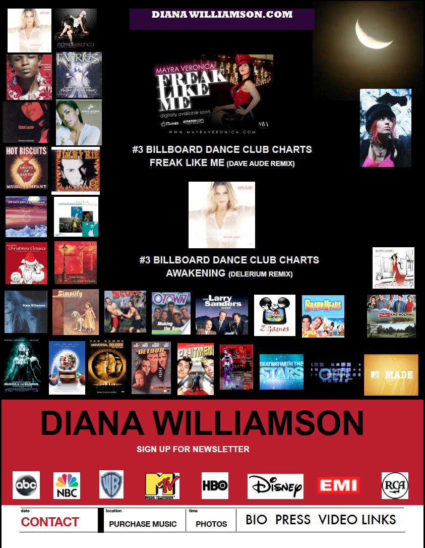 Diana Williamson, Songwriter to the Stars, Performer, Producer.